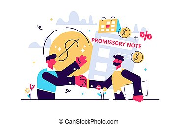 Promise to pay. Money borrowing document. Credit deal, legal...
