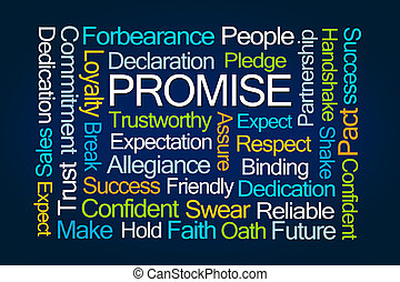Promise Word Cloud on Blue Background