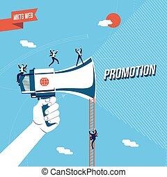 promoção, conceito, ilustração negócio, online