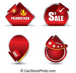 promoção, tag, vermelho
