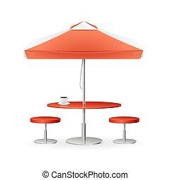 promo, été, parasol, caffee., vecteur