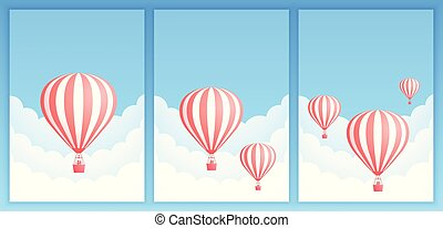 promo, balloon, 空気, 暑い, テンプレート, scape, 旗, 雲