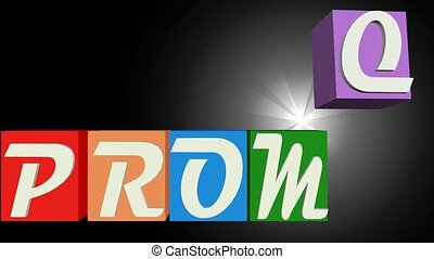 Promo banner with letters on multicolored falling cubes, blurry light on black background,