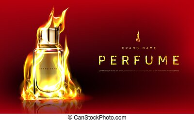 Promo banner with perfume bottle in fire flame