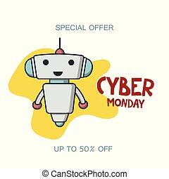 promo, chorągiew, cyber, poniedziałek, sprzedaż