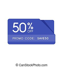 Promo code, coupon code. Flat vector badge design illustration on white background