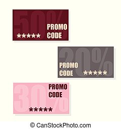 Promo code, coupon code. Flat vector set of cards design on white background.