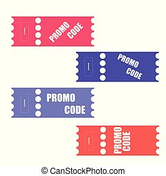 Promo code, coupon code. Flat vector set of tickets design illustration on white background.