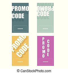 Promo code, coupon. Flat vector set of cards design on white background.