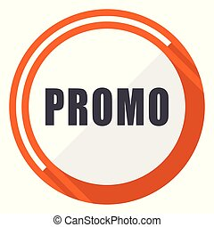 Promo flat design vector web icon. Round orange internet button isolated on white background.