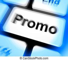 promo, korting, reductie, toetsenbord, sparen, of, optredens