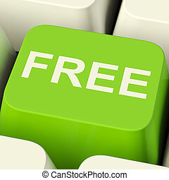 promo, mostrando, livre, computador, verde, freebie, tecla