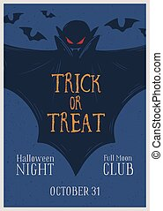 Promo poster of Halloween night party with place for text vector illustration. Announcement of Trick or treat event with vampire, bats and design elements. Advertising of All saints day