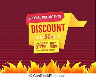 Promo Poster with Burning Fire Flame, Hot Offer Sale