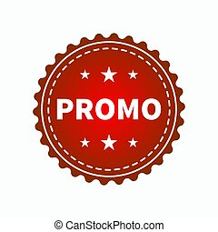 Promo - Round sign with word promo. Red web icon advertising...
