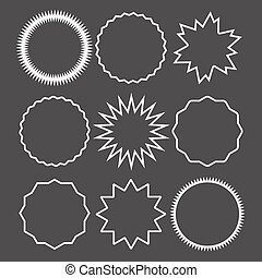 Promo sale starburst marks or sticker label circuit icon set. Price quality tag badge for blank template