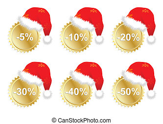 promo, seis, pegatinas, christmass, empresa / negocio