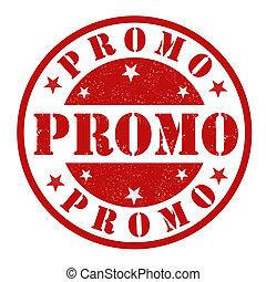 Promo grunge rubber stamp on white, vector illustration