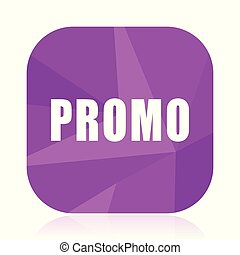 Promo violet square vector web icon. Internet design and webdesign button in eps 10. Mobile application sign on white background.