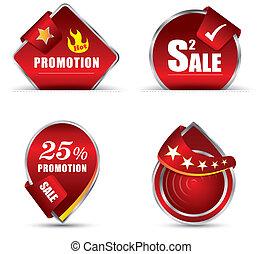 promoción, etiqueta, rojo