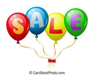promoción, globos, venta, colorido