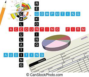 promocional, ilustração, contabilidade, firma