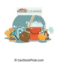 promocional, limpieza de la casa, ilustración, aislado, ...