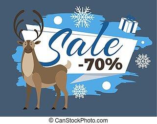 promocional, venta, 70, ciervo, cartel, porcentaje, venado