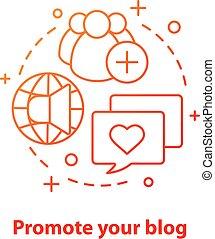 Promote blog concept icon