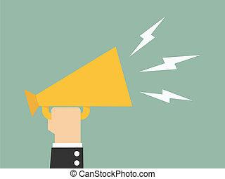 Promote - Hand holding a megaphone, promotion marketing ...