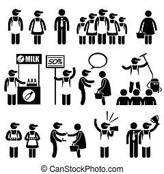 Promoter Salesman Shopping - A set of human pictogram...
