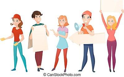 promoters, ensemble, dessin animé, caractères, gens