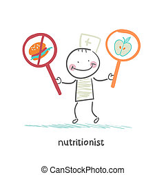 promotes, nourriture, nutritionniste, sain