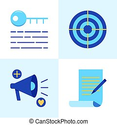 Promotion and copywriting icon set in flat style. SEO ...