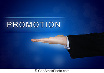 promotion button on blue background