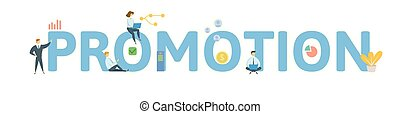 PROMOTION. Concept with people, letters and icons. Colored flat vector illustration. Isolated on white background.