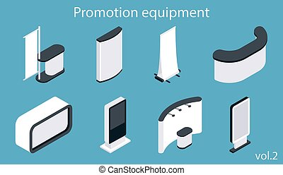 Promotion equipment vector flat isometric icon set