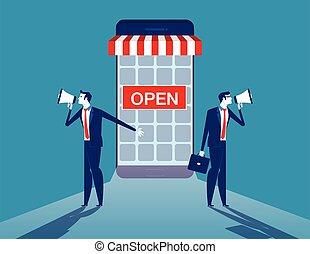 promotion., internet, business., illustration., magasin, vecteur, concept, business, ligne