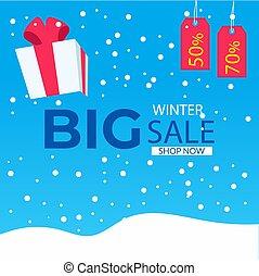 promotion., inverno, illustrazione, fondo, vendita, -, vettore, stagionale
