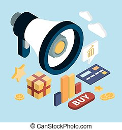Promotion online marketing flat 3d web isometric infographic modern technology communication concept. Huge loudspeaker