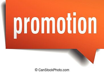 promotion orange speech bubble isolated on white