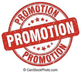 promotion red grunge round vintage rubber stamp