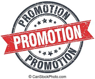 promotion red round grunge vintage ribbon stamp