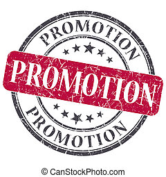 promotion, rouges, rond, grungy, timbre, isolé, blanc, fond