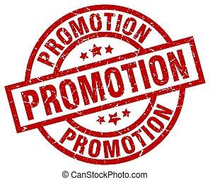 promotion round red grunge stamp