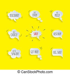 Promotion speech bubble set. Vector speech bubbles with Sale, Discount, Best Offer etc words isolated on yellow comic book background.
