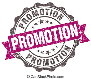 Promotion violet grunge retro style isolated seal