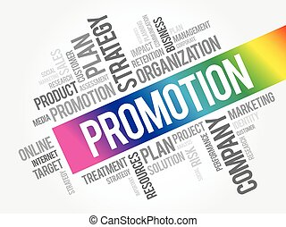 Promotion word cloud collage, business concept background