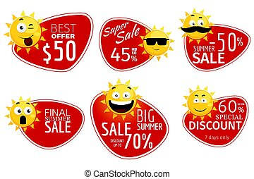 Promotional advertising banners. Vector summer sale labels with smiling sun
