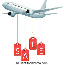 Promotional advertising design, sales tags hanging down on the plane.
